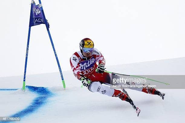 Marcel Hirscher of Austria competes during the Audi FIS Alpine Ski World Cup Men's Giant Slalom on January 10 2015 in Adelboden Switzerland