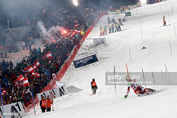 Marcel Hirscher of Austria competes during the Audi FIS Alpine Ski World Cup Men's Slalom on January 27 2015 in Schladming Austria