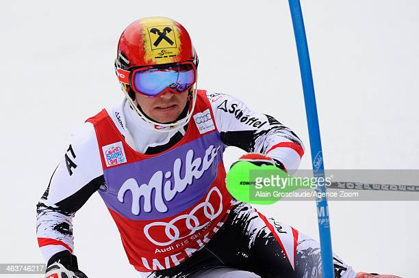 Marcel Hirscher of Austria competes during the Audi FIS Alpine Ski World Cup Men's Slalom on January 19 2014 in Wengen Switzerland