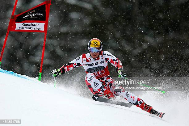 Marcel Hirscher of Austria competes during the Audi FIS Alpine Ski World Cup Men's Giant Slalom on March 01 2015 in GarmischPartenkirchen Germany