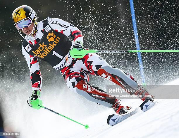 Marcel Hirscher of Austria competes during the Audi FIS Alpine Ski World Cup Men's Slalom on March 15 2015 in Kranjska Gora Slovenia