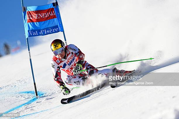 Marcel Hirscher of Austria competes during the Audi FIS Alpine Ski World Cup Men's Giant Slalom on December 12 2015in Val D'isere France