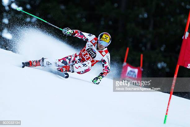 Marcel Hirscher of Austria competes during the Audi FIS Alpine Ski World Cup Men's Giant Slalom on December 20 2015 in Alta Badia Italy