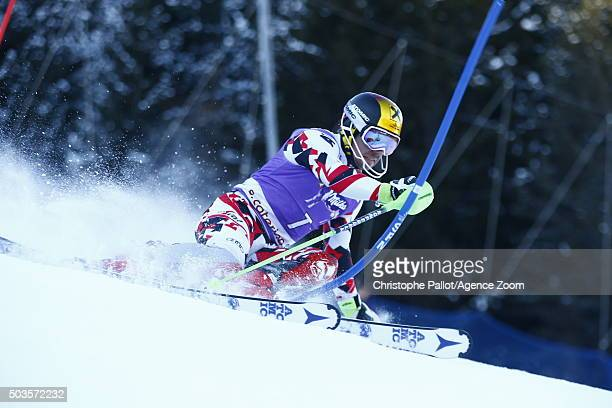 Marcel Hirscher of Austria competes during the Audi FIS Alpine Ski World Cup Men's Slalom on January 06 2016 in Santa Caterina Valfurva Italy