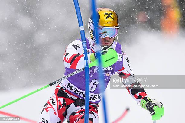 Marcel Hirscher of Austria competes during the Audi FIS Alpine Ski World Cup Men's Slalom on January 17 2016 in Wengen Switzerland