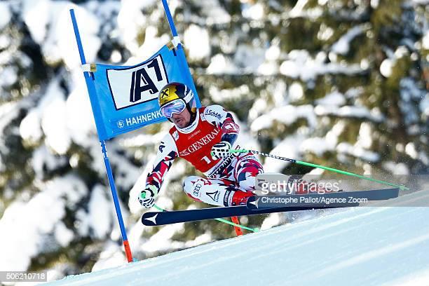 Marcel Hirscher of Austria competes during the Audi FIS Alpine Ski World Cup Men's SuperG on January 22 2016 in Kitzbuehel Austria