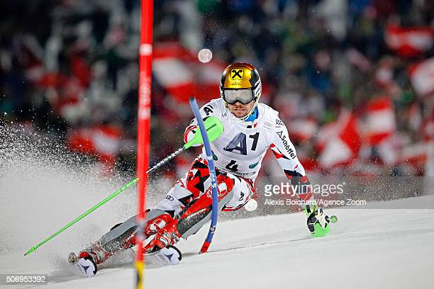 Marcel Hirscher of Austria competes during the Audi FIS Alpine Ski World Cup Men's Slalom on January 26 2016 in Schladming Austria