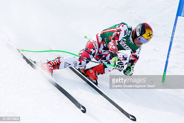 Marcel Hirscher of Austria competes during the Audi FIS Alpine Ski World Cup Men's SuperG on February 27 2016 in Hinterstoder Austria