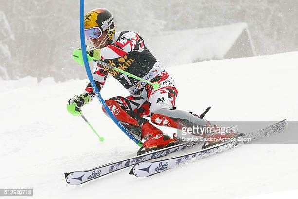Marcel Hirscher of Austria competes during the Audi FIS Alpine Ski World Cup Men's Slalom on March 06 2016 in Kranjska Gora Slovenia