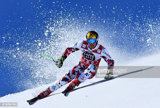 Marcel Hirscher of Austria competes during the Audi FIS Alpine Ski World Cup Finals Men's Giant Slalom on March 19 2016 in St Moritz Switzerland