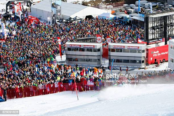 Marcel Hirscher of Austria competes during the Audi FIS Alpine Ski World Cup Men's Slalom on December 11 2016 in Vald'Isere France