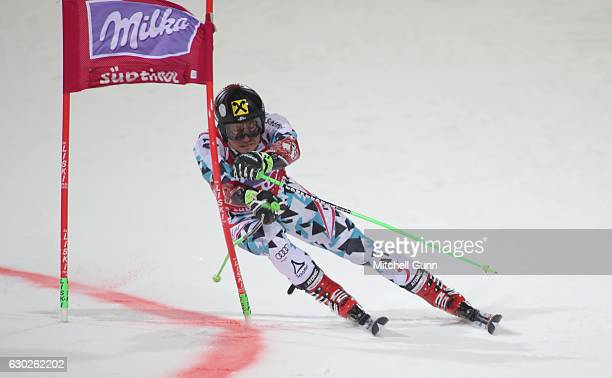 Marcel Hirscher of Austria competes during the Audi FIS Alpine Ski World Cup Men's Parallel Giant Slalom race on December 19 2016 at Alta Badia Italy