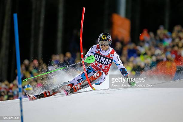 Marcel Hirscher of Austria competes during the Audi FIS Alpine Ski World Cup Men's Slalom on December 22 2016 in Madonna di Campiglio Italy