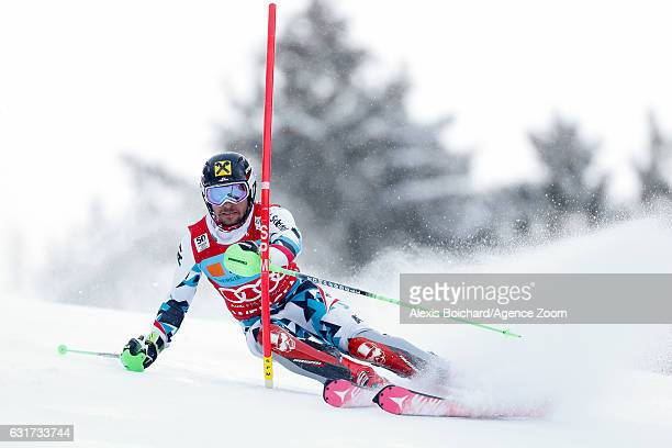 Marcel Hirscher of Austria competes during the Audi FIS Alpine Ski World Cup Men's Slalom on January 15 2017 in Wengen Switzerland
