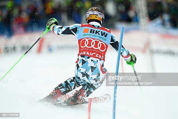 Marcel Hirscher of Austria competes during the Audi FIS Alpine Ski World Cup Men's Slalom on January 15 2017 in Wengen Switzerland