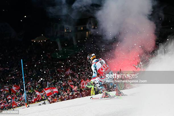 Marcel Hirscher of Austria competes during the Audi FIS Alpine Ski World Cup Men's Slalom on January 24 2017 in Schladming Austria