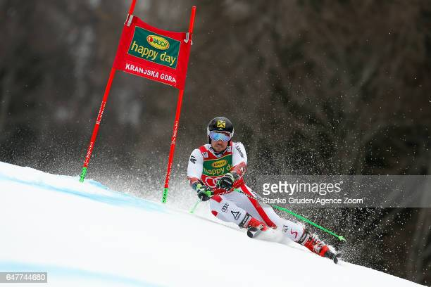 Marcel Hirscher of Austria competes during the Audi FIS Alpine Ski World Cup Men's Giant Slalom on March 04 2017 in Kranjska Gora Slovenia