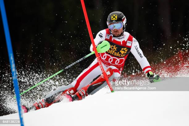 Marcel Hirscher of Austria competes during the Audi FIS Alpine Ski World Cup Men's Slalom on March 05 2017 in Kranjska Gora Slovenia