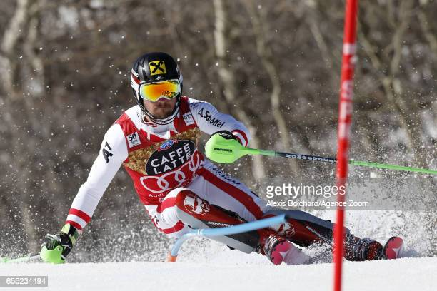 Marcel Hirscher of Austria competes during the Audi FIS Alpine Ski World Cup Finals Women's Giant Slalom and Men's Slalom on March 19 2017 in Aspen...