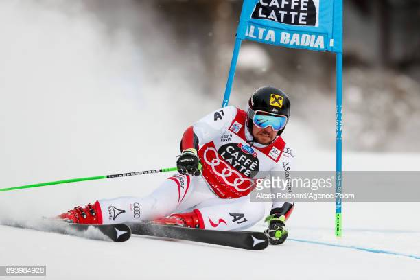 Marcel Hirscher of Austria competes during the Audi FIS Alpine Ski World Cup Men's Giant Slalom on December 17, 2017 in Alta Badia, Italy.