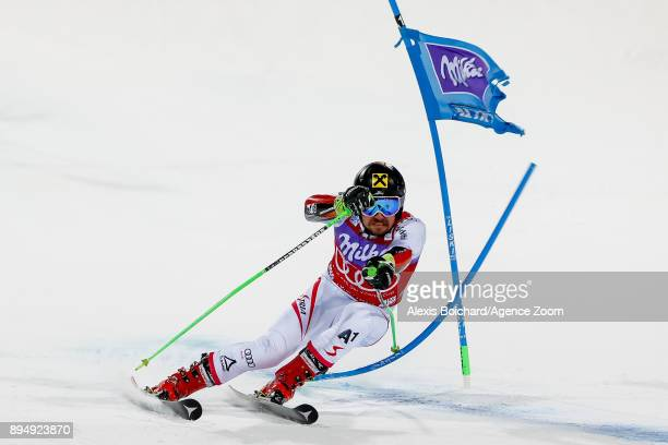 Marcel Hirscher of Austria competes during the Audi FIS Alpine Ski World Cup Men's Parallel Giant Slalom on December 18, 2017 in Alta Badia, Italy.