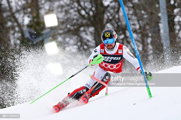 Marcel Hirscher of Austria competes during the Audi FIS Alpine Ski World Cup Men's Slalom on January 4 2018 in Zagreb Croatia