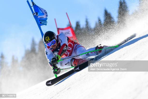 Marcel Hirscher of Austria competes during the Audi FIS Alpine Ski World Cup Men's Giant Slalom on January 6 2018 in Adelboden Switzerland
