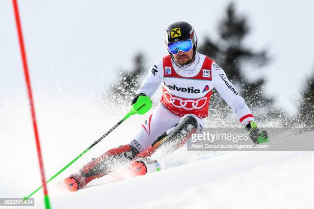 Marcel Hirscher of Austria competes during the Audi FIS Alpine Ski World Cup Men's Slalom on January 7 2018 in Adelboden Switzerland