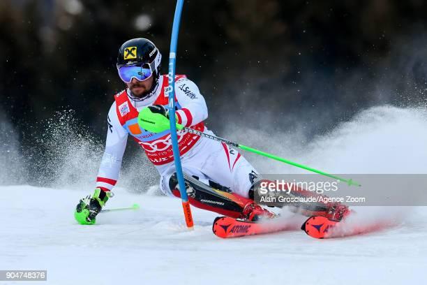 Marcel Hirscher of Austria competes during the Audi FIS Alpine Ski World Cup Men's Slalom on January 14 2018 in Wengen Switzerland