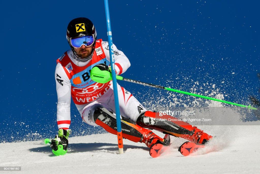 Marcel Hirscher of Austria competes during the Audi FIS Alpine Ski World Cup Men's Slalom on January 14, 2018 in Wengen, Switzerland.