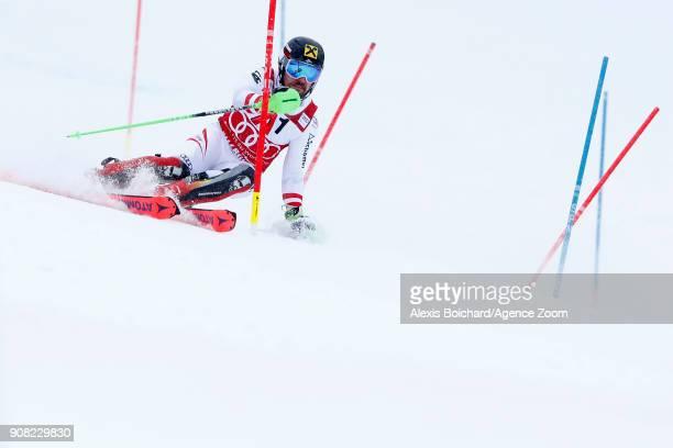 Marcel Hirscher of Austria competes during the Audi FIS Alpine Ski World Cup Men's Slalom on January 21 2018 in Kitzbuehel Austria