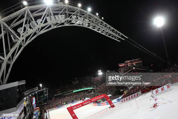 Marcel Hirscher of Austria competes during the Audi FIS Alpine Ski World Cup Men's Slalom on January 23 2018 in Schladming Austria