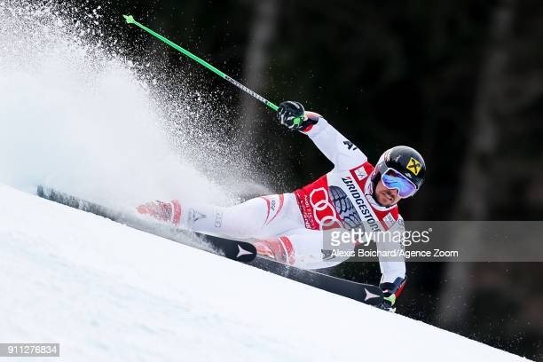 Marcel Hirscher of Austria competes during the Audi FIS Alpine Ski World Cup Men's Giant Slalom on January 28 2018 in GarmischPartenkirchen Germany
