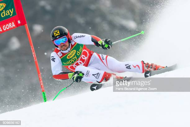 Marcel Hirscher of Austria competes during the Audi FIS Alpine Ski World Cup Men's Giant Slalom on March 3 2018 in Kranjska Gora Slovenia