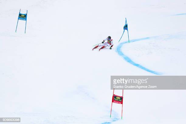 Marcel Hirscher of Austria competes during the Audi FIS Alpine Ski World Cup Men's Giant Slalom on March 3 2018 in Kranjska Gora Slovenia