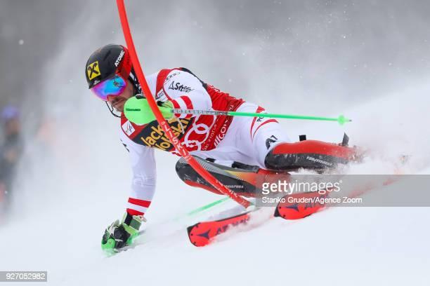 Marcel Hirscher of Austria competes during the Audi FIS Alpine Ski World Cup Men's Slalom on March 4 2018 in Kranjska Gora Slovenia