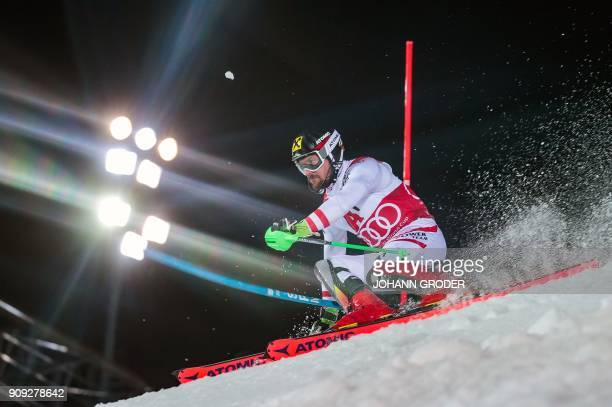 Marcel Hirscher of Austria competes during the first run of the men's slalom event at the FIS Alpine World Cup in Schladming, Austria on January 23,...