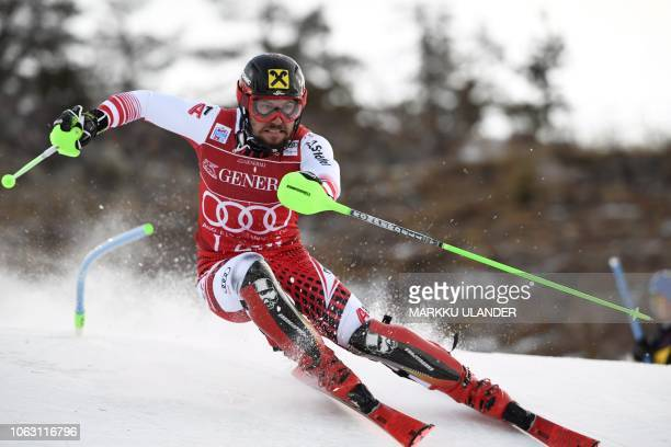 Marcel Hirscher of Austria competes during the FIS Alpine Ski World Cup men's slalom race in Levi Kittilä Finland on November 18 2018 / Finland OUT