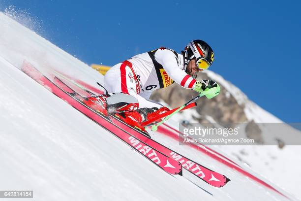 Marcel Hirscher of Austria competes during the FIS Alpine Ski World Championships Men's Slalom on February 19 2017 in St Moritz Switzerland
