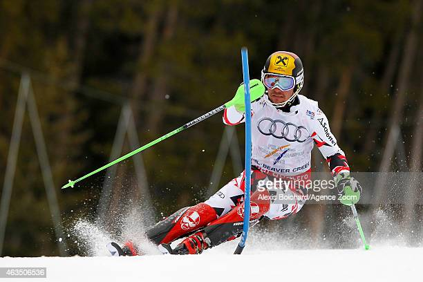 Marcel Hirscher of Austria competes during the FIS Alpine World Ski Championships Men's Slalom on February 15 2015 in Beaver Creek Colorado