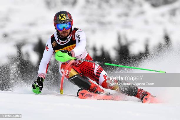 Marcel Hirscher of Austria competes during the FIS World Ski Championships Men's Slalom on February 17 2019 in Are Sweden