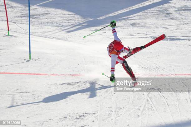 Marcel Hirscher of Austria competes during the Men's Alpine Combined Slalom on day four of the PyeongChang 2018 Winter Olympic Games at Jeongseon...