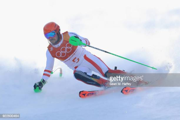 Marcel Hirscher of Austria competes during the Men's Slalom on day 13 of the PyeongChang 2018 Winter Olympic Games at Yongpyong Alpine Centre on...