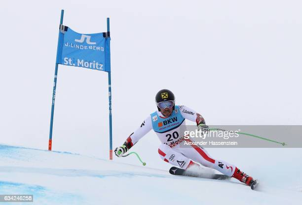 Marcel Hirscher of Austria competes during the Men's Super G during the FIS Alpine World Ski Championships on February 8 2017 in St Moritz Switzerland