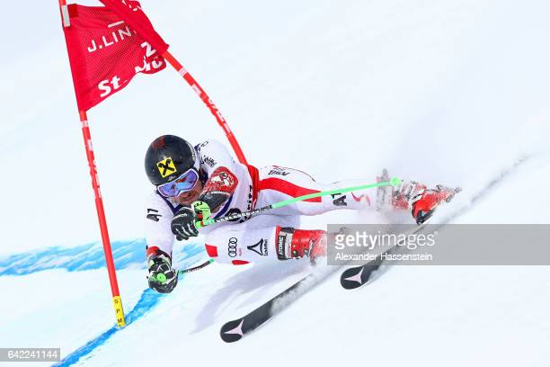 Marcel Hirscher of Austria competes in the Men's Giant Slalom during the FIS Alpine World Ski Championships on February 17 2017 in St Moritz...