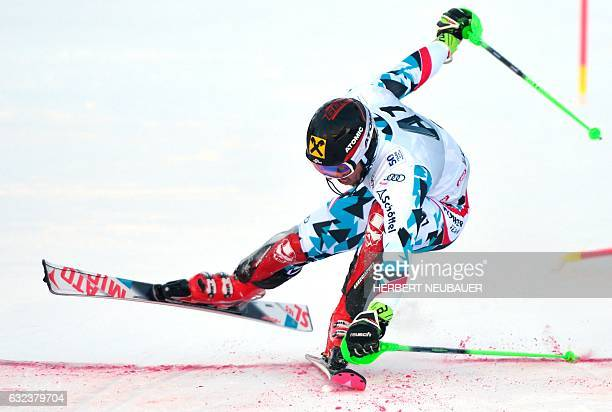 Marcel Hirscher of Austria competes in the Men's Slalom event of the FIS Alpine Skiing World Cup at the Hahnenkamm in Kitzbuehel Austria on January...