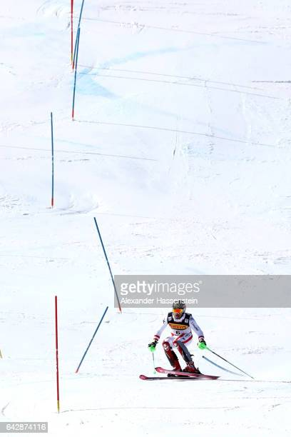 Marcel Hirscher of Austria competes in the second run of the Men's Slalom during the FIS Alpine World Ski Championships on February 19 2017 in St...