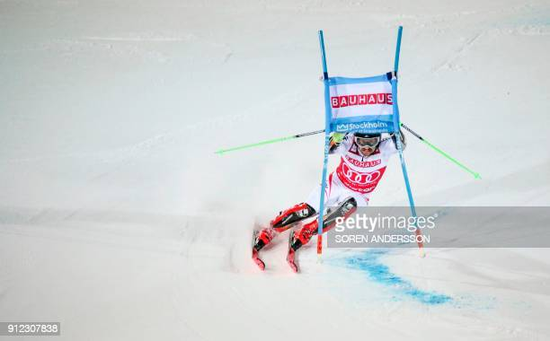 TOPSHOT Marcel Hirscher of Austria competes the FIS Ski World Cup parallel slalom city event in Stockholm Sweden on January 30 2018 / AFP PHOTO / TT...