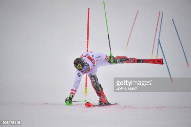 Marcel Hirscher of Austria competes to place second in the men's slalom event at the FIS Alpine World Cup in Kitzbuehel Austria on January 21 2018 /...