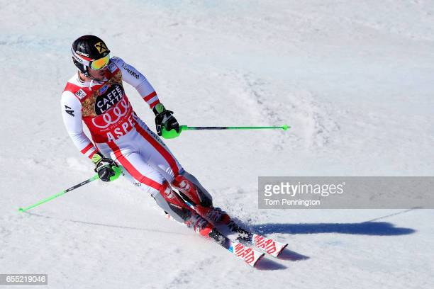 Marcel Hirscher of Austria crosses the finish line on his first run of the men's Slalom during the 2017 Audi FIS Ski World Cup Finals at Aspen...